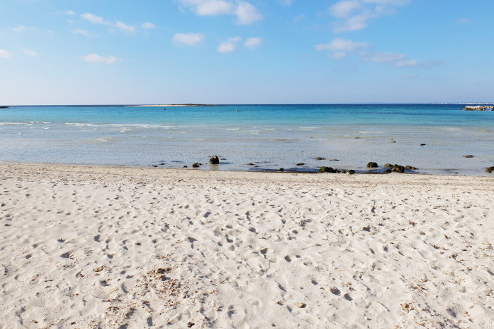 The sandy beach of Torre Sant'Isidoro in Puglia