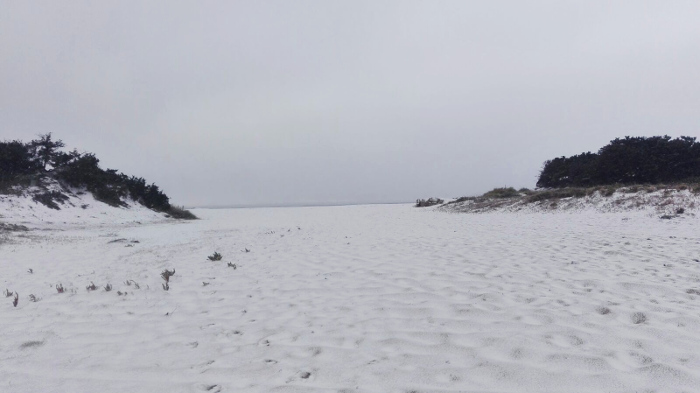 Torre Lapillo beach like you've never seen it before, with snow!